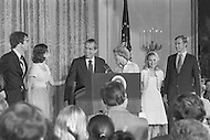 Washington DC  - Nixon resigned the presidency on August 9, 1973  saying farewell to his Cabinet and White House staff with his family by his side (left to right David and Julie Eisenhower, Richard Nixon with wife Pat, daughter Tricia and son in law Edward Cox)- A break in at the Democratic National Committee headquarters at the Watergate complex on June 17, 1972 results in one of the biggest political scandals the US government has ever seen.  Effects of the scandal ultimately led to the resignation of  President Richard Nixon, on August 9, 1974, the first and only resignation of any U.S. President.