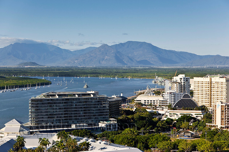 Aerial view of Harbour Lights apartments with Trinity Inlet in background.  Cairns, Queensland, Australia