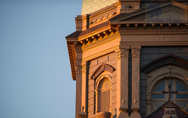 Oct. 8, 2013;  The Golden Dome at sunset. Photo by Barbara Johnston/University of Notre Dame