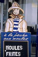 Europe/France/Bretagne/56/Morbihan/Quiberon/Port-Maria: Porte-menu d'un restaurant servant des moules