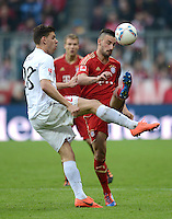 FUSSBALL   1. BUNDESLIGA  SAISON 2011/2012   31. Spieltag FC Bayern Muenchen - FSV Mainz 05       14.04.2012 Adam Szalai (li, 1. FSV Mainz 05) gegen Diego Contento (FC Bayern Muenchen)