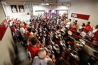 The Ohio State Marching Band streams into St. John Arena for the first Skull Session before the Ohio State football season opener against Buffalo at Ohio Stadium in Columbus, Saturday afternoon, August 31, 2013. (Columbus Dispatch  / Eamon Queeney)
