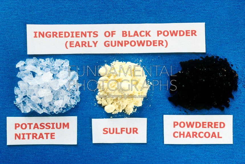 BLACK POWDER INGREDIENTS<br /> Early Gunpowder Formula<br /> An explosive mixture of 75%  Potassium Nitrate,  10% Sulfur and 15% Powdered Charcoal. The first explosive known.