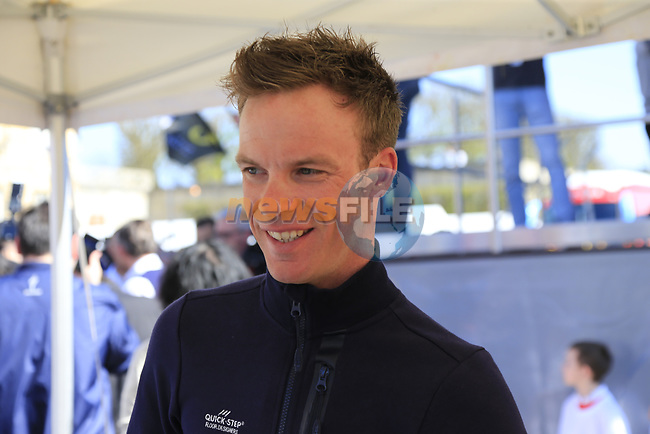 Iljo Keisse (BEL) Quick-Step Floors at the Team Presentation for the upcoming 115th edition of the Paris-Roubaix 2017 race held in Compiegne, France. 8th April 2017.<br /> Picture: Eoin Clarke | Cyclefile<br /> <br /> <br /> All photos usage must carry mandatory copyright credit (&copy; Cyclefile | Eoin Clarke)
