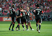05 May 2012: D.C. United forward Hamdi Salihi #9 celebrates his goal during an MLS game between DC United and Toronto FC at BMO Field in Toronto..D.C. United won 2-0.