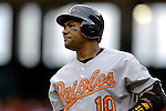 21 May 2006: Miguel Tejada, shortstop for the Baltimore Orioles, looks to third from the on-deck circle during a game against the Washington Nationals at RFK Stadium in Washington, DC. The Nationals defeated the Orioles 3-1 to take 2 of 3 games in their first inter-league series...Mandatory Photo Credit: Ed Wolfstein Photo..