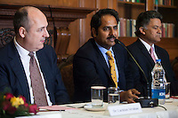 Maharaj Narendra Singh (Maharaj of Jaipur), speaks as he is flanked by Dr. Lachlan Strahan (Australian Deputy High Commissioner to India) (left) and Nik Senapati (Rio Tinto Managing Director) during a press conference on Oz Fest in Raj Mahal Palace hotel, Jaipur, India on 10th January 2013. Photo by Suzanne Lee/DFAT