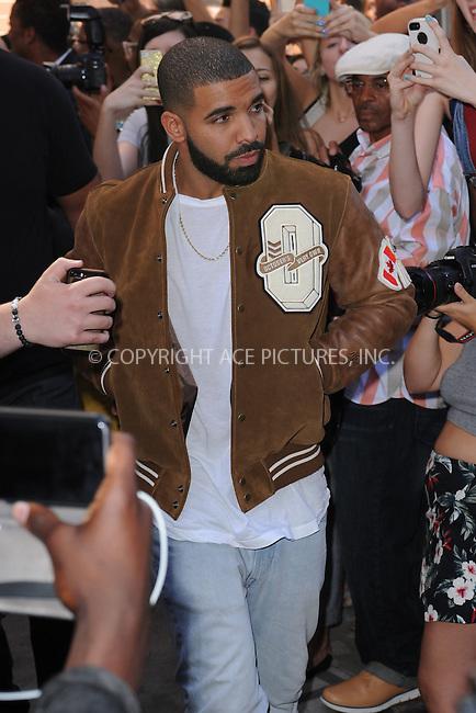 WWW.ACEPIXS.COM<br /> September 16, 2015 New York City<br />  <br /> Drake leaving Kanye West Fashion Show on September 16, 2015 in New York City.<br /> <br /> <br /> <br /> Credit: Kristin Callahan/ACE<br />  <br /> Tel: 646 769 0430<br /> Email: info@acepixs.com<br /> www.acepixs.com