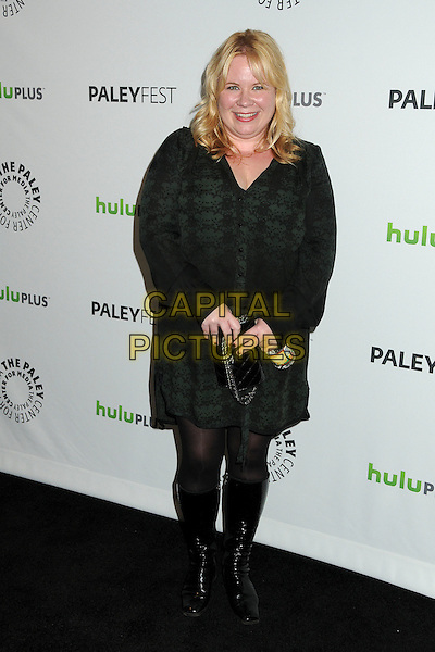 "Julie Plec.PaleyFest 2012 Presents ""The Vampire Diaries"" held at the Saban Theatre. Beverly Hills, California, USA, .10th March 2012.full length black green  lace print shirt dress tights knee high boots clutch bag .CAP/ADM/BP.©Byron Purvis/AdMedia/Capital Pictures."