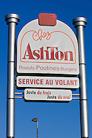 Chez Ashton restaurant sign. Chez Ashton is a popular fast food chain in Quebec City. They are famous for their poutine, a French Canadian dish consisting of French fries topped with fresh cheese curds and covered with hot gravy