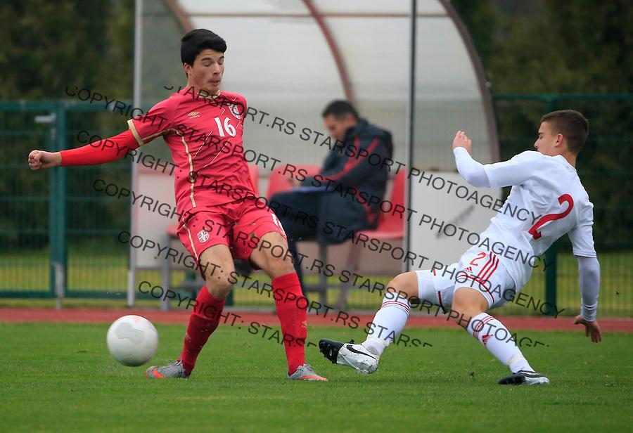 Fudbal soccer friendly match<br /> Srbija U17 v Madjarska U17<br /> Nemanja Tomasevic (L)<br /> Stara Pazova, 08.12.2015.<br /> foto: Srdjan Stevanovic/Starsportphoto &copy;