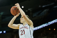 SPOKANE, WA - MARCH 30, 2013: Sara James drains a three during the third round NCAA Championships game matching Stanford vs Georgia at the Spokane Arena. The Cardinal fell to the Bulldogs 61-59.