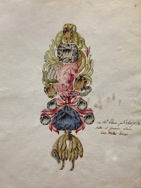Drawing of the Jewel of the Order of the Golden Fleece, by Pierre Andre Jacquemin, 1720-73, Jeweller to the King and Keeper of the Crown Jewels under Louis XV. The jewel was reproduced in 2010 by Herbert Horovitz and his team of jewellers in Geneva, taking 600 hours of work. The blue diamond set in this piece was brought to France from India by Jean-Baptiste Tavernier in 1668 and sold to Louis XIV. It was cut by Jean Pittan in a new 'rose de Paris' design and set in the Grand Insignia of the Order of the Golden Fleece in 1749 for Louis XV. In 1792 this piece and many others were stolen by a revolutionary mob from the Garde-Meuble Royal in Paris. The blue diamond was later re-cut to become the Hope Diamond, now in the Smithsonian Museum in Washington DC, USA, as proved by Francois Farges in 2008. Picture by Manuel Cohen
