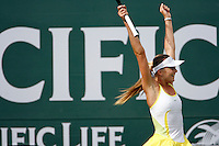 17 March 2007: Daniela Hantuchova (SVK) defeated Svetlana Kuznetsova (RUS) 6-3, 6-4 on the main court at the 2007 Pacific Life Open Tennis Tournament in Indian Wells, CA on Saturday.  Daniela reacts to winning for the second time at this tournament location.