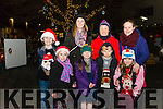 Front l-r Leah Sheehan, Durla Purcell, Ruairi O'Connor and Ellen O'Connor, back l-r Conor Sheehan, Sandra Sheehan, Tina Johnson and Sharon Purcell all from Killorglin pictured at turning of the Christmas lights in Killorglin last Saturday.