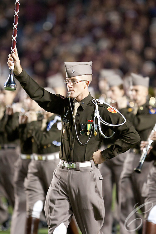 The Fightin' Texas Aggie Band  preforms at halftime of the 2011 Texas A&M - Texas game.