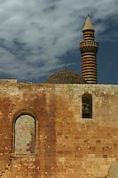 Ishak Pasha Saray Palace Dogubayazit Turchia,paesaggio   . Anatolia Orientale, particolare architettonico. Minareto