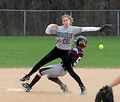 West Allis Hale's Shannon Huberty cannot reach the ball as Menomonee Falls' Rachel Defnet goes underneath her at second during the Greater Metro game at Willowood Park in Menomonee Falls on Thursday, May 5, 2011. Falls won the game 9-3. Ernie Mastroianni photo.