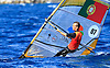 Portugal, Funchal, Madeira :  Portuguese Jo&atilde;o Rodrigues, competes on February 24, in 2012 European Windsurfing Championships in the bay of Funchal on the Portuguese archipelago of Madeira.Photo Gregorio Cunha .Campeonato da Europa de windsuf, classe RSX, na baia da cidade do Funchal,  Iha da Madeira, Portugal..Foto Gregorio Cunha