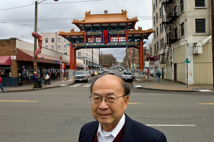 1/2/2008--Seattle, WA, USA..Historic Chinatown Gate Foundation President Tuck Eng, 74, prepares for the Feb. 9 unveiling of the 45-foot archway that hangs over South King Street near Fifth Avenue South in Seattle..©2008 Stuart Isett. All rights reserved.