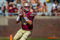 TALLAHASSEE, FLA 9/10/16-Florida State quarterback Sean Maguire looks for a receiver against Charleston Southern during fourth quarter action Saturday at Doak Campbell Stadium in Tallahassee. <br /> COLIN HACKLEY PHOTO
