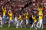 Cheerleaders celebrate after the Michigan Wolverines score on the Ohio State Buckeyes at Ohio Stadium in Columbus, Ohio on 11/22/86.  Michigan defeated Ohio State 26-24. Photo by John D. Hanlon, 25-year photographer for Sports Illustrated.