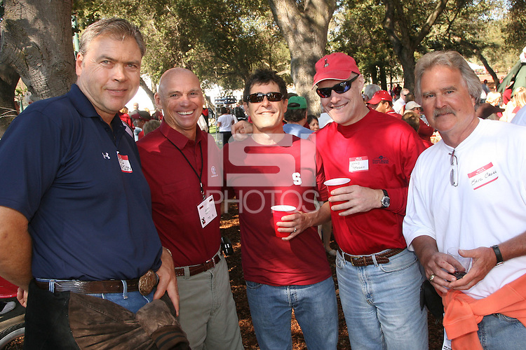13 October 2007: John Koehn, Dennis Peterson, and Eric Cross at a tailgate for the 1971-1972 Rose Bowl teams before Stanford's 38-36 loss to TCU at Stanford Stadium in Stanford, CA.