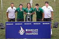 Pedro Mendes (6) of Sporting Clube de Portugal holds the championship trophy. Tottenham Hotspur F. C. and Sporting Clube de Portugal played to a 2-2 tie during a Barclays New York Challenge match at Red Bull Arena in Harrison, NJ, on July 25, 2010.