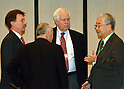 February 24, 2012, Tokyo, Japan - Yotaro Hatamura, right, chairman of the government-appointed Investigation and Verification Committee for the accident at Fukushima No. 1 power plant, talks to a group of nuclear experts before a meeting at a Tokyo hotel on Friday, February 24, 2012. They are, from left: Lars-Erik Holm, director general of the Swedish Radiation Protection Authority; Andre-Claude Lacoste, president of France's nuclear safety authority, Richard A. Meserve, president of the Carnegie Institution; and Hatamura. The panel, which plans to compile its final report and hopes to end its probe by the end of July, held the two-day meeting in Tokyo with the overseas experts to review the interim report it released in late December. (Photo by Natsuki Sakai/AFLO) AYF -mis-