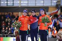 SCHAATSEN: BERLIJN: Sportforum Berlin, 05-03-2016, WK Allround, Podium 3000m Ladies, Ireen Wüst (NED), Martina Sábliková (CZE), Antoinette de Jong (NED), ©foto Martin de Jong