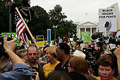 Washington DC, District of Columbia<br /> USA<br /> September 24, 2005 <br /> <br /> Anti-Iraqi war demonstration in Washington DC. High turn out and could have been the 100,000 expected.<br /> <br /> It was attended by Cindy Sheehan, the mother of a fallen soldier in Iraq, whose protest outside President Bush's Texas ranch during the summer mobilized many anti-war supporters.<br /> <br /> Here she passes, amongst the 100,000 demonstrators at the White House with Reverend Jesse Jackson and Al Sharpton.