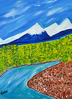 Spring time in the Cabinet Mountains northwest Montana. Colorful primitive interpretation of the Cabinet Mountains. Aspen in the foreground with Gold Creek running through it.