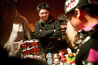 People attend Dunkxchange, a market held in a club in New York City, USA, where sneaker collectors trade and sell their rare shoes, 7 January 2007.<br />