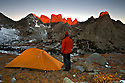WY01347-00...WYOMING - Sunrise on the Cirque of Towers from a campsite near Jackass Pass in the Popo Agie Wilderness section of the Wind River Range.