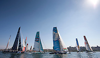 Extreme Sailing Series 2011. Act 3.Turkey . Istanbul.Team GAC Pindar skippered by Ian Williams, shown here with the fleet as they cross the startline..Credit: Lloyd Images