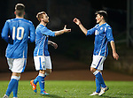 St Johnstone v Dundee Utd..10.11.15  SPFL Development League.  McDiarmid Park, Perth.<br /> Liam Caddis celebrates his goal with George Hunter<br /> Picture by Graeme Hart.<br /> Copyright Perthshire Picture Agency<br /> Tel: 01738 623350  Mobile: 07990 594431