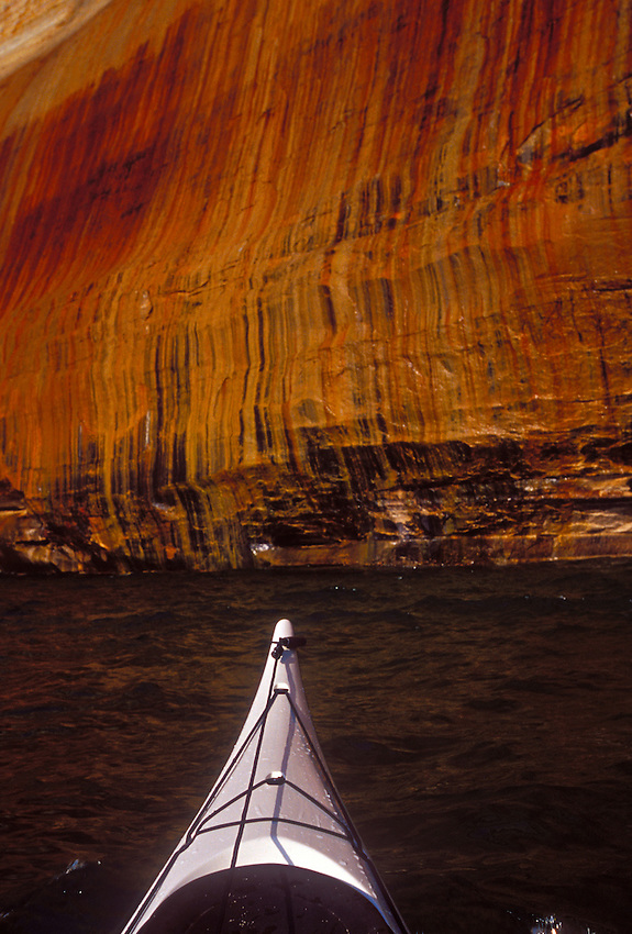 Mineral stains on a cliff in Pictured Rocks National Lakeshore near Munising, Mich.