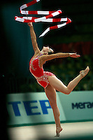 """Irina Risenson of Israel performs with ribbon at 2008 World Cup Kiev, """"Deriugina Cup"""" in Kiev, Ukraine on March 22, 2008."""