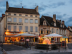 Early evening view of a popular square, the Petite Place Carnot, in Beaune, Burgundy