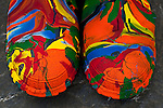 Galoshes boots covered with paint