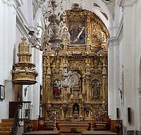 Main Altar, 18th century, Iglesia de San Esteban (St Stephen's Church), 12th-13th centuries, Segovia, Castile and Leon, Spain. Late Romanesque sandstone church. Baroque interior rebuilt after fire, 18th century. Picture by Manuel Cohen