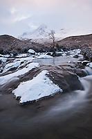 Sgurr Nan Gillean emerges from winter storm, Black Cuillins, Isle of Skye, Scotland
