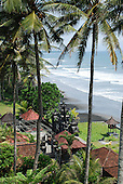 Looking down on Rambut Siwi temple building on the shore in Bali, Indonesia.