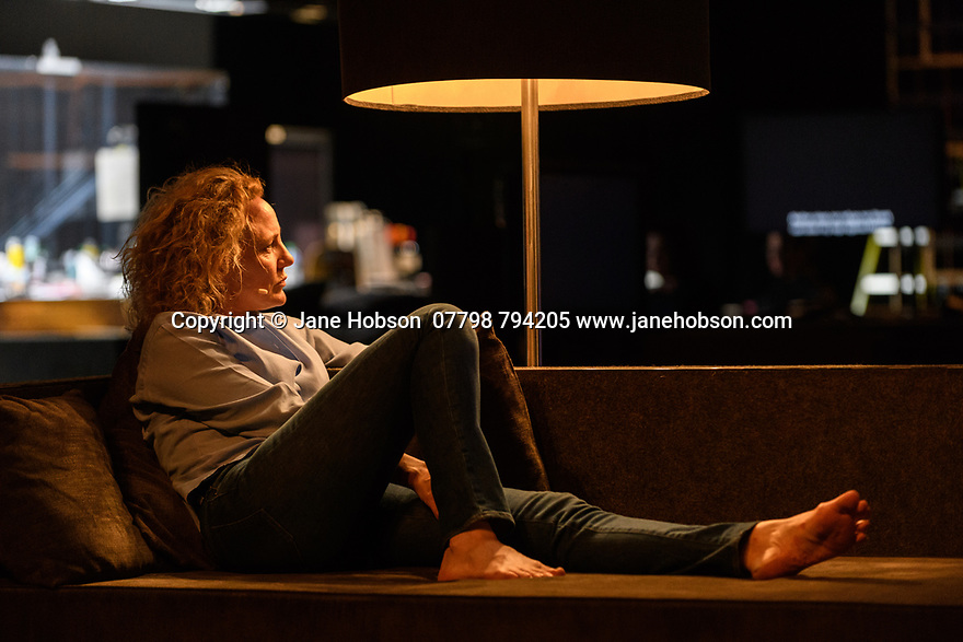 London, UK. 16.03.2017. Toneelgroep Amsterdam presents<br /> &quot;Roman Tragedies&quot;, a seamless interpretation of William Shakespeare's &quot;Coriolanus&quot;, Julius Caesar&quot; and &quot;Anthony and Cleopatra&quot;, in the Barbican Theatre. The Barbican first introduced Toneelgroep Amsterdam to UK audiences in 2009 with this same production. Picture shows:  Coriolanus - Janni Goslinga (Virgilia). Photograph &copy; Jane Hobson.