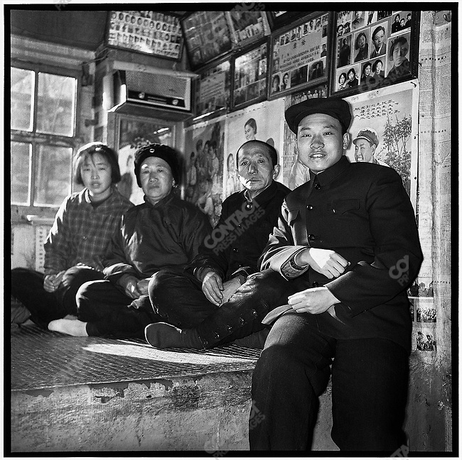 Li, his father, his stepmother, and his sister (right to left), upon Li's return to his hometown for the Spring Festival marking the Chinese New Year (photographed with a self-timer). Lidao commune, 28 January 1965