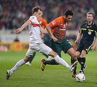 FUSSBALL  1. BUNDESLIGA  SAISON 2011/2012  31. SPIELTAG 13.04.2012 VfB Stuttgart - SV Werder Bremen Claudio Pizarro (re, SV Werder Bremen) gegen Georg Niedermeier (VfB Stuttgart)