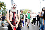 Vermin Supreme, a well-known anarchist and activist, marches through the streets during the 2012 Republican National Convention on August 27, 2012 in Tampa, Fla.