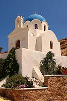 Blue domed Byzantine Greek Orthodox Church, Ios Chora, Cyclades Islands, Greece.