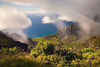 Clouds part over the Kalalau Valley, Kauai.