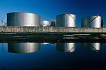 Large storage tanks in rows at the Port of Seattle Washington USA
